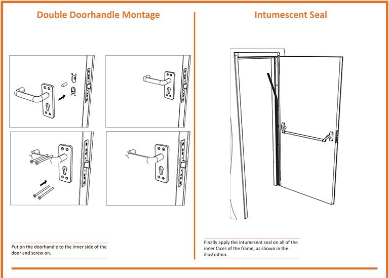 Double Door Handle Montage Intumescent Seal