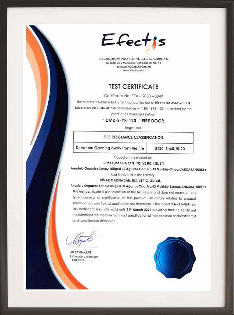 Single Leaf 120 Minutes Fire Resistance Certificate
